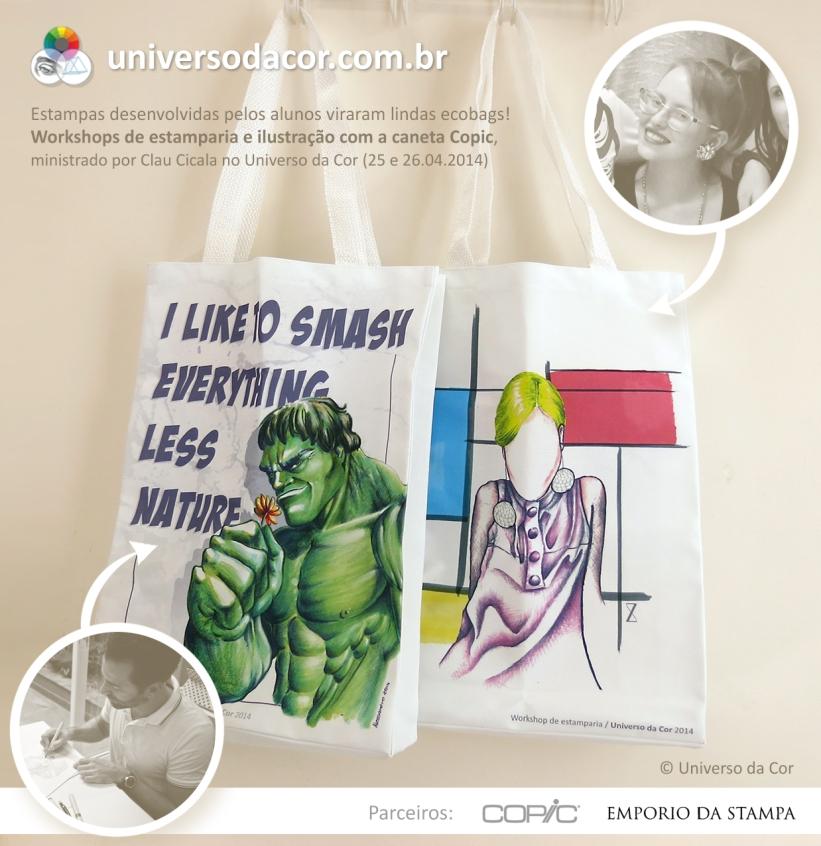 Ecobags exclusivas criadas pelos alunos do Universo da Cor – abr/2014